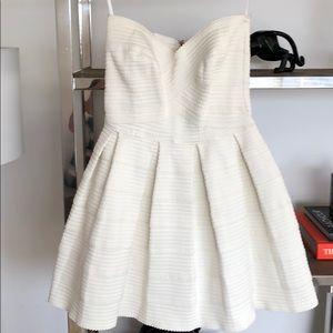 Honey Punch Elastic Cream Strapless Dress